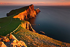 Neist Point lighthouse at dusk Isle of Skye Scotland