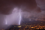 Multiple lightning strikes during a thunderstorm Geneva
