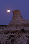Hoodoo and moon Dinosaur Provincial Park Badlands Alberta