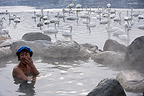 Man taking a bath in an onsen near a lake Japan  (Whooper swan)