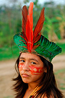 Young girl Kaxinawa wearing a traditional head-dress Brazil