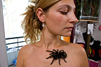 Woman owner holding a Grammostola Tarantula on her body (Spider)