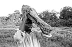 Hunter holding the head of an African Gharial Congo�