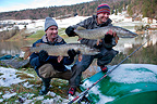 Pike Fishing in Winter River Doubs Franche Comte France (Northern pike)