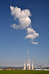 Steam cloud & moon above the Bugey Nuclear Power Station