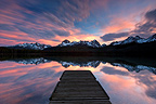 Reflection of sunrise over Sawtooth mountains USA