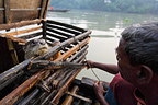 Fisherman and otter in a locker on a boat Bangladesh