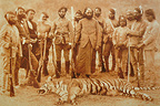 Old photograph of Tiger hunting in India. Tigers are endagered due to destruction of its habitat and poaching. Before, tiger hunting was reserved for the maharajas who created royal reserve to protect it. Now there are less than 5000 tigers in India.