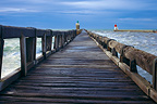 Pier and lighthouse in Capbreton Landes, France