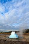 Eruption of the geyser Strokkur at Geysir, Vesturland, Iceland