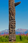 Detail of Totem old Gitksan Nation,  Kispiox village, Canada